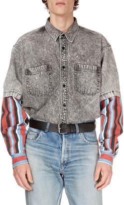 Balenciaga Men's Gray-Washed Denim Shirt with Striped Trim