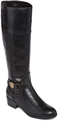 Liz Claiborne Womens Trino Riding Boots Block Heel Zip
