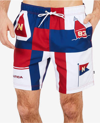 "Nautica Mens Iconic Colorblocked 8"" Swim Trunks"