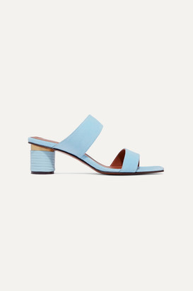 Souliers Martinez - Gibraltar Leather-trimmed Suede Mules - Sky blue