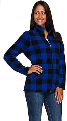 Denim & Co. Printed Fleece Zip Front Long Sleeve Jacket with Pockets