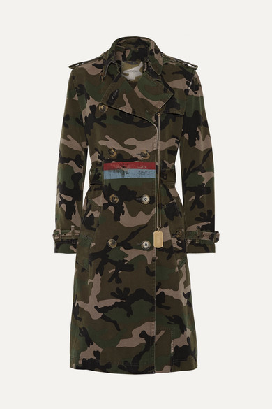 Valentino Valentino - Embellished Camouflage-print Cotton-canvas Trench Coat - Army green