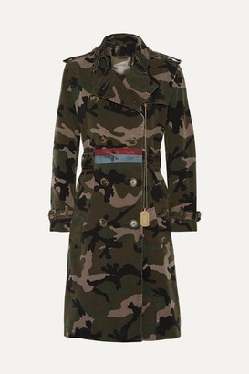Embellished Camouflage-print Cotton-canvas Trench Coat - Army green