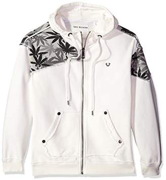 True Religion Men's Marijuana Leaf Print Zip Hoodie,XL