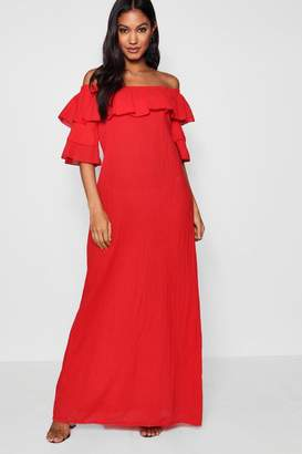 boohoo Ruffle Off Shoulder Maxi Dress