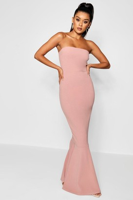 boohoo Bandeau Fishtail Maxi Dress