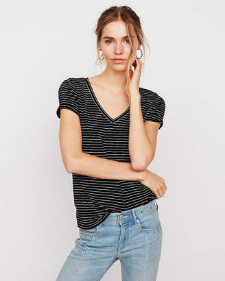 Express One Eleven Striped V-Neck Slim Tee