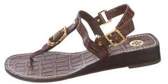 Tory Burch Embossed Leather Thong Sandals