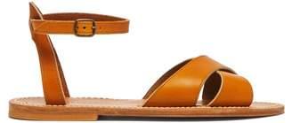 K. Jacques Dottie Cross Strap Leather Sandals - Womens - Tan