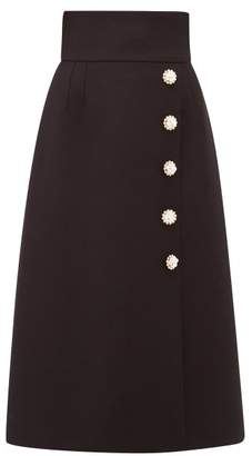 Dolce & Gabbana Floral Button Crepe Midi Skirt - Womens - Black