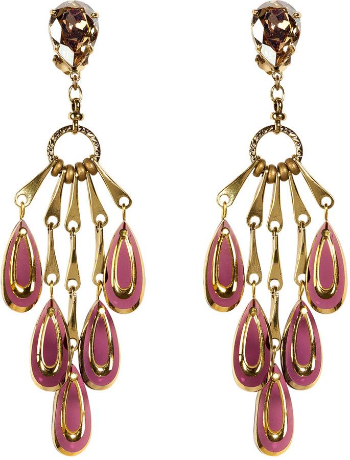 Aris Geldis Amethyst and Gold Chandelier Clip Earrings