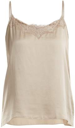 Icons Peony lace-trimmed silk cami top