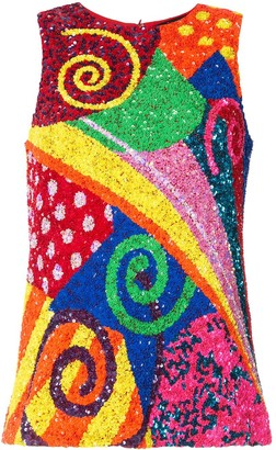 Manish Arora swirl patchwork sequinned top
