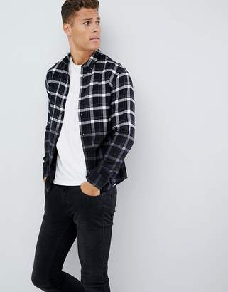 ONLY & SONS slim fit dip dyed check shirt
