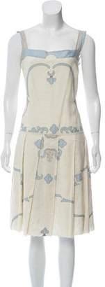 Prada Sleeveless Embroidered Dress