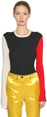 Calvin Klein Color Block Cotton Blend Knit Sweater
