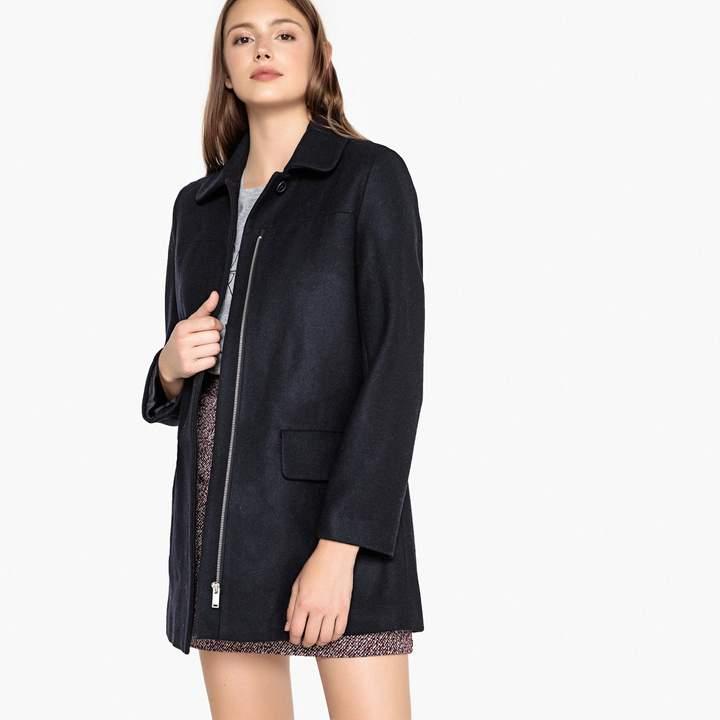 Wool Blend Zip-Up Coat