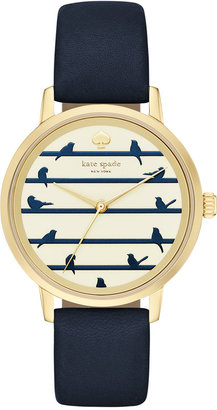 kate spade new york Women's Metro Navy Leather Strap Watch 34mm KSW1022 $195 thestylecure.com