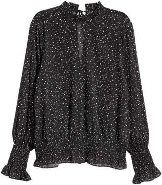 H&M Crinkled Chiffon Blouse - Black
