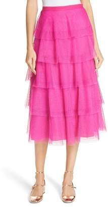 RED Valentino Tiered Point d'Esprit Midi Skirt
