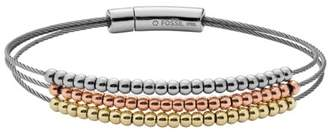 Fossil Multi-Strand Tri-Tone Brass Bracelet jewelry MULTI