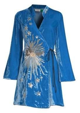 DAY Birger et Mikkelsen Rixo Iris Embellished Velvet Wrap Dress