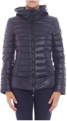 Peuterey Short Down Jacket Color Violet With Quote Ripstop