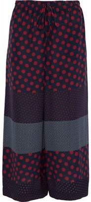 RED Valentino Cropped Printed Silk Wide-Leg Pants