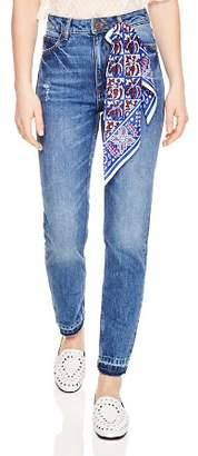 Sandro Rozabel Scarf Detail Straight-Leg Jeans in Blue Vinta