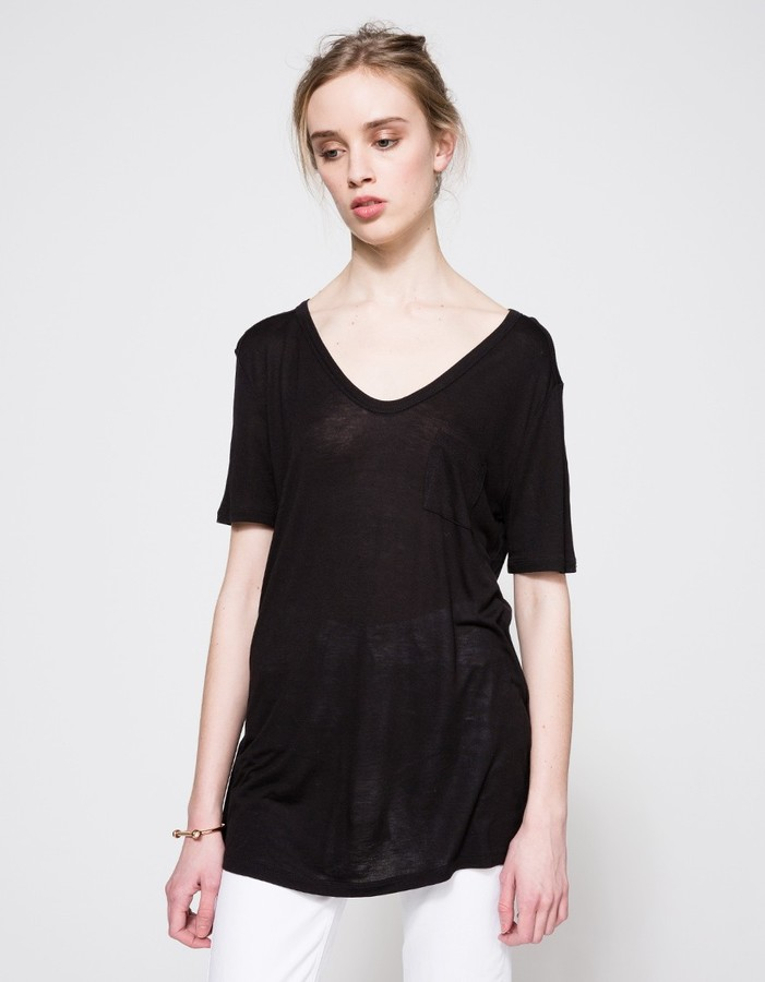 Alexander WangClassic Tee With Pocket In Black