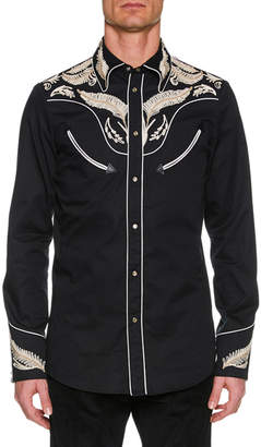 DSQUARED2 Men's Embroidered Twill Western Shirt