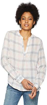 Three Dots Women's Check Gauze Short Loose top