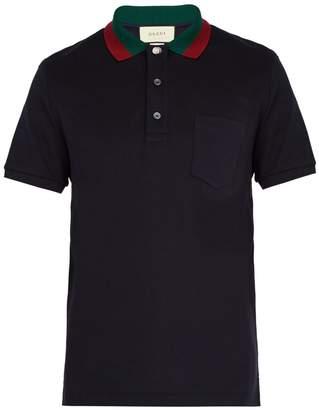Gucci Web-striped collar polo shirt