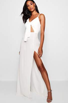 boohoo Tall Tie Front Split Leg Maxi Dress
