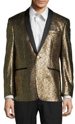 Tallia Orange Metallic Shawl Lapel Sportcoat