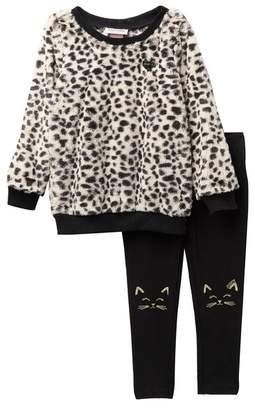 Juicy Couture Animal Print Faux Fur Pullover & Cat Knee Leggings Set (Baby Girls)