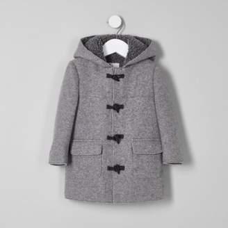 River Island Mini boys grey fleece lined hood duffle coat