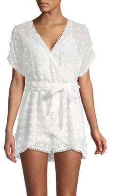 Embroidered Wrap-Front Romper