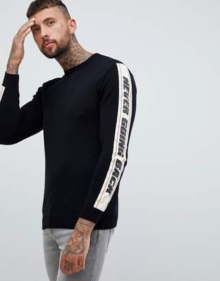 Pull&Bear sweatshirt in black with slogan side stripe