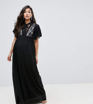TFNC Maternity Maternity Highneck Maxi Dress With Top Lace Insert