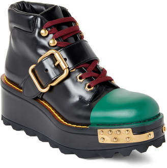 Prada Black & Green Platform Wedge Combat Boots