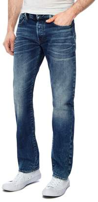 G Star G-Star - Blue Whiskered Mid Wash '3301' Straight Jeans