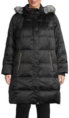 London Fog Quilted Faux Fur Down Parka