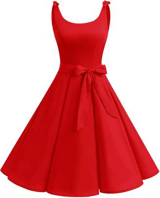 Bbonlinedress Women's 1950's Vintage Retro Bowknot Polka Dot Rockabilly Swing Dress DarkRed XL