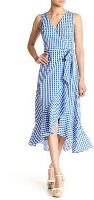 Soprano Gingham Print Wrap Dress