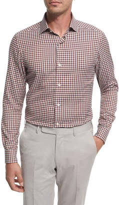 Ermenegildo Zegna Check Cotton Shirt, Burgundy/Ivory/Gray