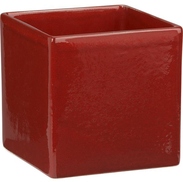 Crate & Barrel Square Red Planter