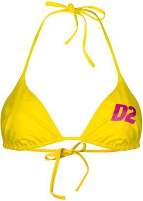 DSQUARED2 logo print string bikini top