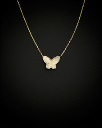 Italian Gold 14K Two-Tone Rimmed Satin Butterfly Necklace