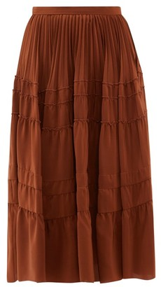 Rochas Tiered Silk Crepe De Chine Midi Skirt - Womens - Brown